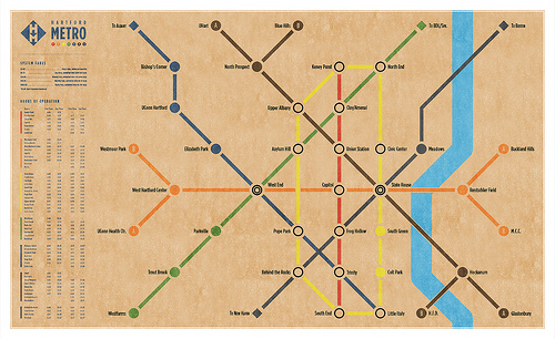 A Map of what a subway or light rail in Hartford, CT would look like.