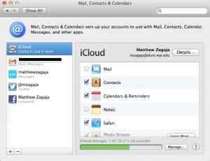 Apple Mail, Contacts, and Calendars Settings