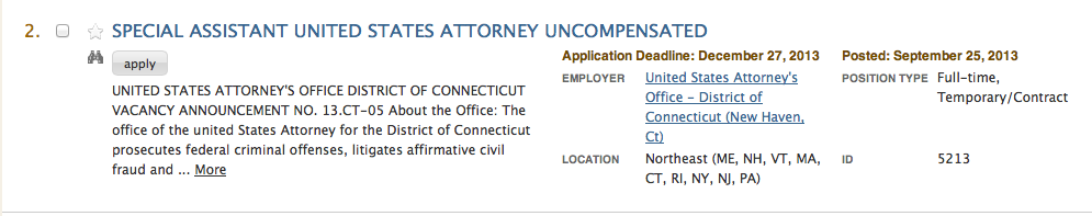 Uncompensated Special Assitant US Attorney Job Posting